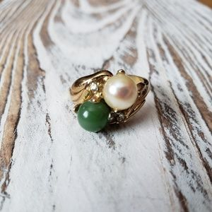 Jewelry - Jade & Created Pearl 18k HGE gold ring size 6.5